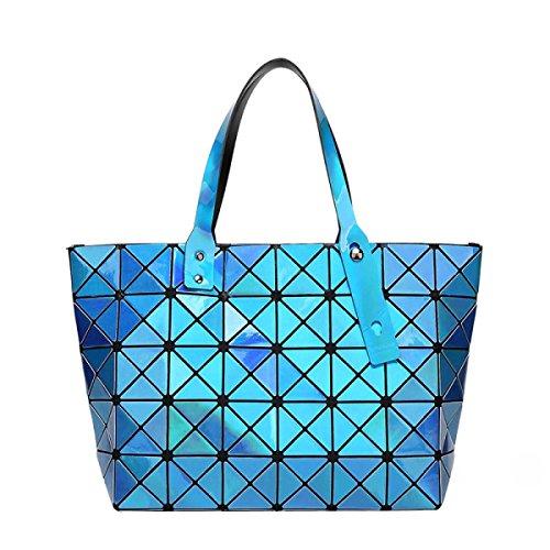Frauen Schultertasche Hand Falttasche Geometry Lightblue