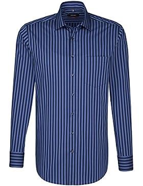 SEIDENSTICKER Herren Hemd Modern Langarm Bügelfrei Streifen Businesshemd Kent-Kragen Kombimanschette weitenverstellbar