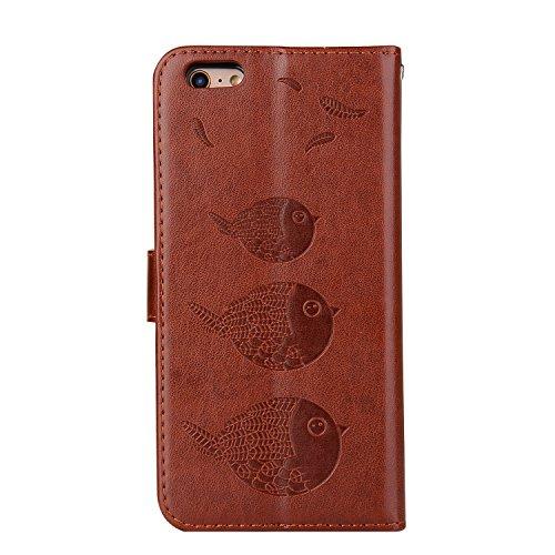 iPhone 7 Coque, Voguecase Etui pratique et original en cuir synthétique, avec fermeture à aimant, housse de protection interne silicon antichoc de qualité avec coque en internal silicone amovible pour Couple d'oiseaux-Marron