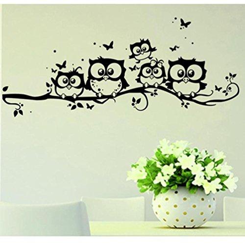 Ningsun decalcomania casa della decorazione dell'autoadesivo della parete del gufo cartone del fumetto di arte del vinile dei bambini rimovibile adesivo murale (nero, 55*25cm)