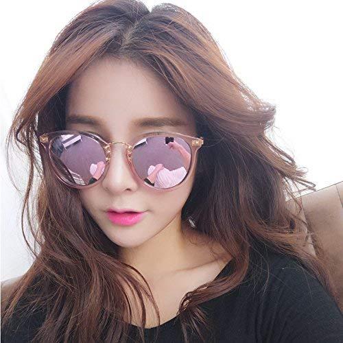 Zusammen Frau Kuan das Pulver Farbe Sonne Spiegel das runde Gesicht wachsen weibliche Flut von transparenten Sonnenbrillen Stil der Verteidigung UV-Strahlen der Brille