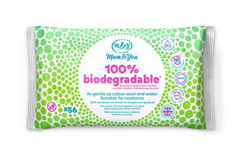 Mum & you salviettine umidificate per bambini bebè e neonato.100% biodegradabili, confezione da 12, (672 salviette in totale). 98% di acqua, 0% di plastica.