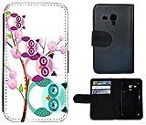 Flip Cover Schutz Hülle Handy Tasche Etui Case für (Samsung Galaxy S3 Mini i8190 i8200, 1007 Eule Eulen Familie Lila Violett Türkis)