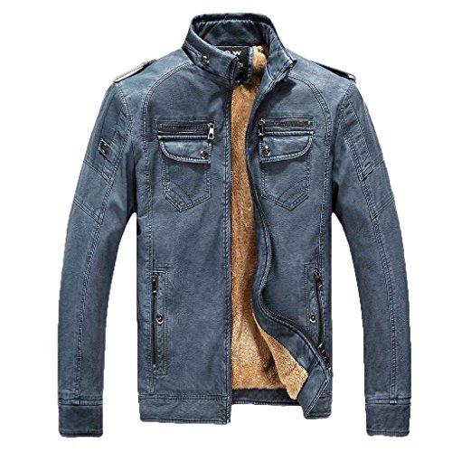 Babysbreath Chaqueta de motocicleta de invierno PU de cuero de cremallera de manga larga más terciopelo Soporte Collar Coat Azul claro XXXL