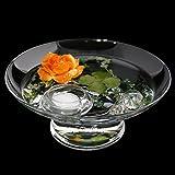 Runde Glas-Schale Hollow H.10cm ø 25cm. Flache Dekoschale rund mit Dekorations Set Rose orange Dekoglas Glasgefäß mit ausgefallener Deko für Ihre Deko Ideen. Glasdeko Glasschalen von Glaskönig