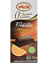 Chocolates Valor Chocolate 70% Cacao, con Mousse de Naranja, Sin Azúcar - 150