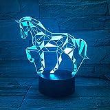 Lámpara de ilusión led 3d Luz de noche/Mesa de noche óptica Wangzj Luces de noche / 7 Cambio de color Botón de toque Decoración Lámparas de escritorio /Caballo