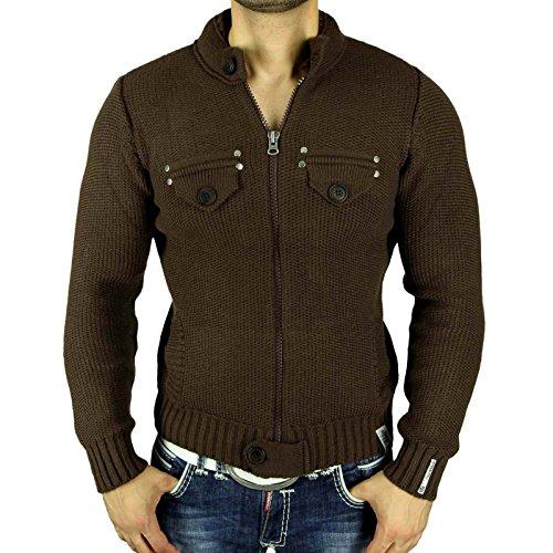 Rusty Neal Strickpullover Zipper Jacke Pullover Sweats Sweatshirt RN-6777-P NEU Braun