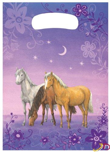 10 Stk. Partytüten Traumpferdchen Mädchen Geburtstagstüten Folie Mitgebsel Tüten Tasche Pferd Pferde