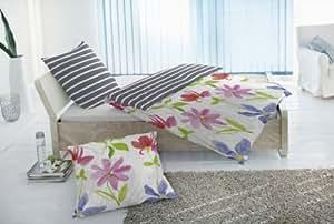 2-tlg. Renforce Wendebettwäsche Garnitur Blumenmotiv Farbe: Grau & Weiß, Größen: 135 x 200cm und 155 x 220cm Größe 135 x 200
