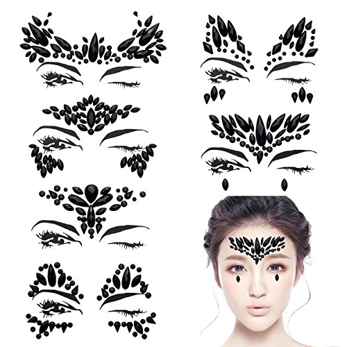 Abreome 6 pezzi strass gioiello face tattoo face tattoo face sticker, pietre di cristallo strass adesivi temporari sticker glitter make-up per feste festival shows, glitter effetto, parties, shows.