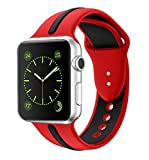 Soft Silicone Watch Band for Apple iWatch Sports/Editions Series 2/Series 1 Sport Style Replacement Watchband Strap Stripe Contrast Color Wristbands (Black/Red