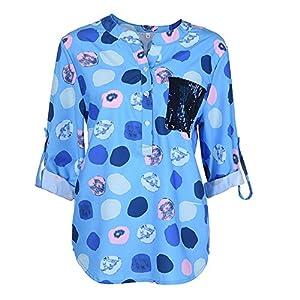 NINGSANJIN Oberteile Damen V-Ausschnitt Bluse Übergröße Langarmshirt Stretch Große Größen Casual Tunika Bandagen Pailletten Taschen Tops