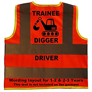 Trainee Digger Driver Baby/Children/Kids Hi Vis Safety Jacket/Vest Size 2-3 Years Orange Optional Personalised On Front