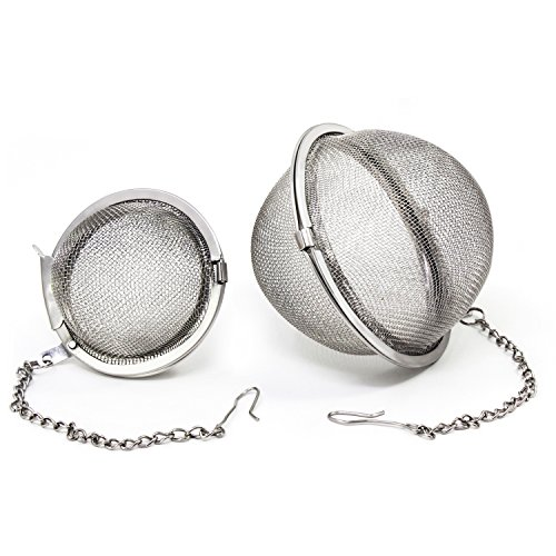 KEESIN Edelstahl Teesieb Mesh-Tee-Kugel Wiederverwendbare Teeblatt Infuser Filter Set aus 2 (5-7 cm)