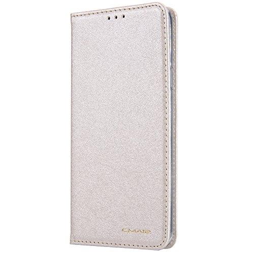 HARRMS Samsung Galaxy S7 Handyhülle Handytasche mit Geldbörse mit Kredit Karten Fach Geldklammer Leder Hülle Handyfach Magnet Schutzhülle, Leichtes Gold
