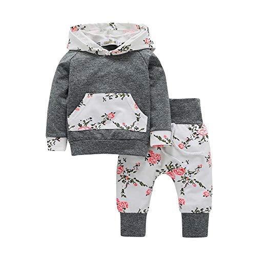 Trinlay Baby Mädchen Set Blumen Hoodie Tops Druckt Hose Bekleidungsset 2 Stück Outfits Schlafanzug Mode Kleider Set für 0-24 Monate