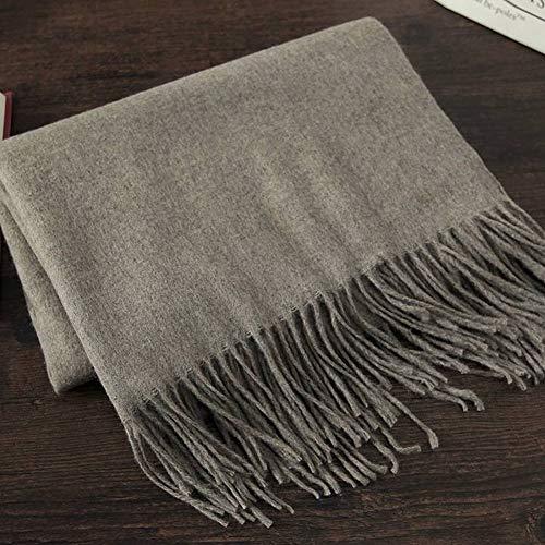GO&FL Damen Schal, elegant, einfarbig, Reine Wolle, multifunktional, Warmer Schal, für Reisen, vielseitig, Schal, warm, Couleur polyvalente Grise 4#, 200 * 70cm -