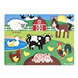 Melissa & Doug Farm Peg Puzzle, Multi Color