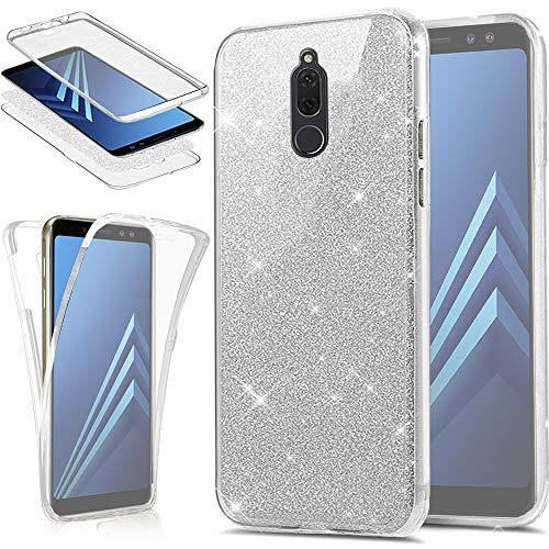 EINFFHO Huawei Mate 10 Lite Hülle, 360 Full-Body Vorne+Hinten Rundum Schutz Tasche Etui Kristall Klar Glänzend Glitzer Durchsichtig Silikon Hülle Schutzhülle für Huawei Mate 10 Lite (Silber)
