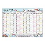Wand-Kalender 2019 Einhorn Nö. Einfach nö I DIN A3 Quer-Format I Süßer Jahresplaner mit Feiertagen für Büro Küche - Mädchen Frauen WG Familie I dv_391
