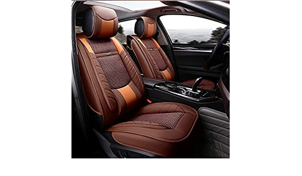 ANKIV Orange FULL SET Universal Fit 5 Seats Car 3d Surrounded Luxury Waterproof Pu Leather and Breathable Artificial Silk Car Seat Covers Trims with Fixed Lumbar Pillows for Sedan Suv