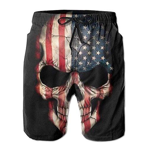 Skull Tattoo Skull Tattoo Elastic Tropical Print Beach Shorts Quick Dry Style for Men Boys Juniors Board Short with Pockets Medium -