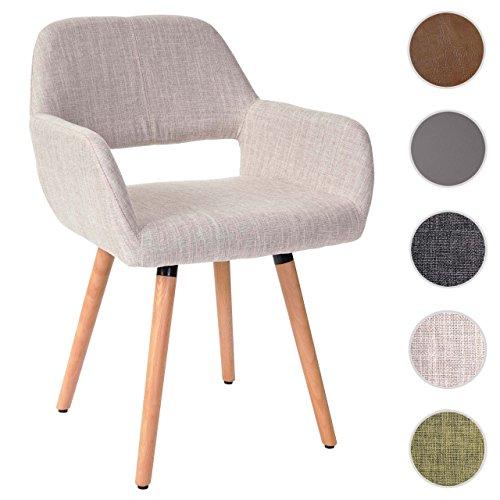 Esszimmerstuhl Altena II, Stuhl Lehnstuhl, Retro 50er Jahre Design ~ Textil, creme/grau