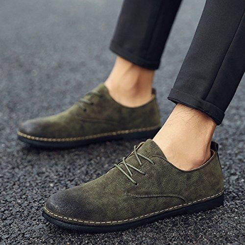 Lyzgf Zapatos Casuales En Cuero Para Hombre Retro Estilo Elegante Verde