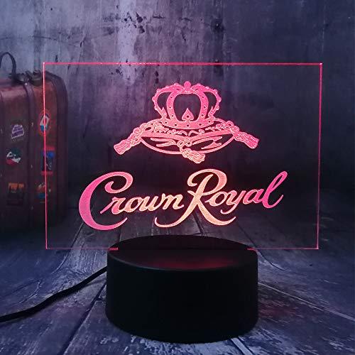 Xiujie Neue Crown Royal Logo Whisky Whisky Wein 3D Led NachtlichtLampe Home Room Office Decor Neujahr Weihnachten Weihnachtsgeschenk -