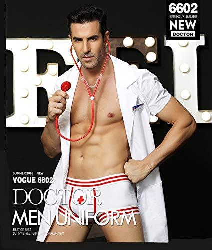 AILIN1 Sexy Body mit Spitze Männer Arzt Uniform White Coat Männlich Krankenschwester Versuchung Sexy Uniform Erotische Nachtwäsche Cosplay Doktor