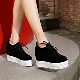 ZHZNVX Herbst koreanische Version der einzelnen Schuhe Schuhe erhöht dicken unteren Muffin unten mit hohen Absätzen Spitzensandalen, schwarz, 39
