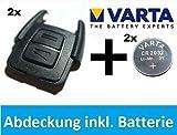 DOPPELPACK Original OPEL Astra G / Zafira A Schlüssel Abdeckung Gehäuse + VARTA CR2032 Batterie