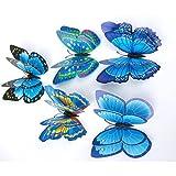 Wand Aufkleber brezeh 3D Wall Paper schön super Billig 12x 3D Schmetterling Wandsticker Sticker Kühlschrank Magnet Room Decor Aufkleber Aufnäher blau