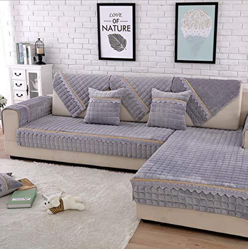 Sofabezug L Form Sofa Bezug Winter U Form 2/3/4 Sitz Dicke Flanell Rose Hussen Mode Rutschfeste Sofabezug, Gray, 70 * 70cm