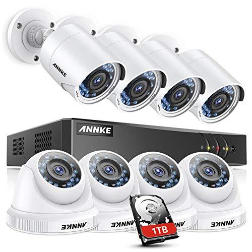 ANNKE 8CH système de sécurité 1080P TVI H.265+ DVR avec HDD 1TB,8 Caméras de vidéosurveillance 2MP Jour/Nuit Intérieur Extérieur Détection de Mouvement