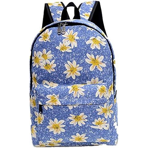 Clode® Bolso de hombro de mujer flor patrón tela mochila mochila escolar bolsa libro