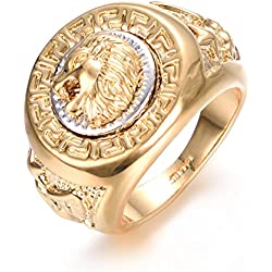 Yoursfs Bague Or plaqué 54mm tête de Lion pour Homme ou Garçon comme Accessoire ou Idée Cadeau Anniversaire