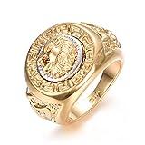 Yoursfs cabeza de León grande de anillo 18 k había chapado en oro amarillo y blanco t69 para hombre o niño como accesorio o regalo de boda
