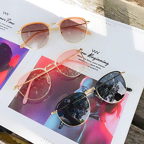 BHLTG Sonnenbrille Retro rundes Gesicht Sonnenbrille Paar Modelle Männer und Frauen Gezeiten kleines Gesicht Sonnenbrille Outdoor UV Brille-4