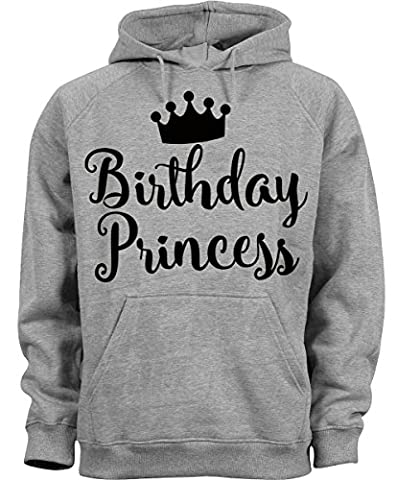 Birthday Princess White Font Crown Design Homme Femme Unisex Grey Melange Hoodie Sweatshirt Pullover