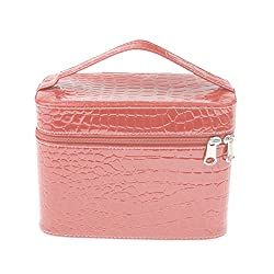 Generic Women Girls Leather Bag Box Makeup Cosmetic Organizer Cases Storage Boxes - pink, 8.4 x 5.1 x 5.9in
