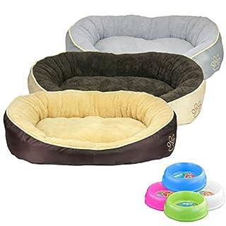 Smartweb Waschbares Flauschiges Hundebett 58 x 48 x 18cm für Hund und Katze Katzenbett Hundekissen Katzenkissen Tierkissen Braun