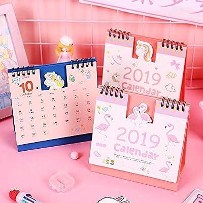SMAQZ Calendario De Escritorio Calendario De Dibujos Animados Fresco Pequeño Calendario Creativo Decoración De Escritorio por SMAQZ