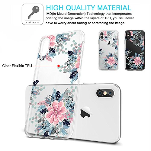Coque iPhone X, JIAXIUFEN TPU Coque pour Apple iPhone X Silicone Étui Housse Protecteur - Begonia Flower Flower Begonia