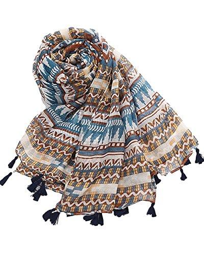 ZANZEA Femme Large Châle Nation Imprimé Tassel Coton Scarf Longue Plage Wrap Rétro Écharpe 6#