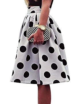 Mujer Falda a Media Elegante Patrón de Puntos Slim Fit Plisada Falda con Cremallera Moda Cintura Alta Oscilación...