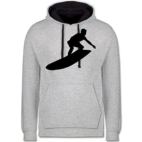 Wassersport - Surfer - Kontrast Hoodie Grau meliert/Dunkelblau