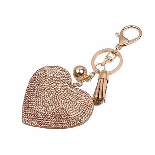 Yogogo Liebe Rhinestone Troddel Keychain Taschen Handtasche Schlüsselring Auto Schlüssel Anhänger (Gold)