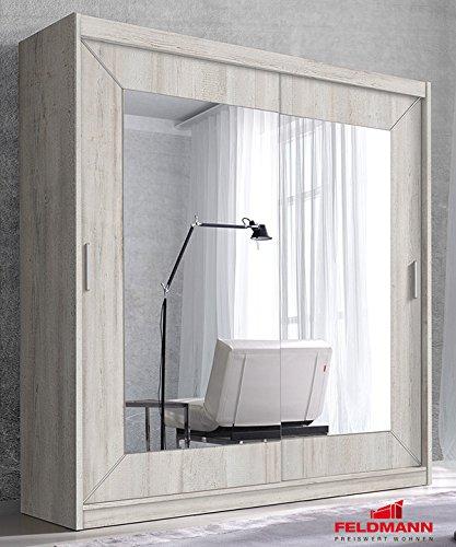 Schwebetürenschrank Kleiderschrank 45826 canyon arctic pine 200cm mit Spiegel